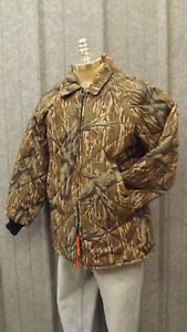 Vtg NEW Reversible Mossy Oak Tree Stand,Orange Camo Insulated Hunting Jacket Med
