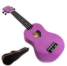 "Beautiful Purple with Heart Hole - 21"" Soprano Wooden Ukulele & Carrying Bag"