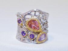 GENUINE 1.74tcw! Brazilian Pink Tourmaline & Amethyst Ring S/Silver 925