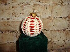 Vintage Glass Ball Christmas Tree Ornament Hand Crochet Covered Red Bulb