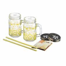 Kilner 7pc Lemonade Design Glass Mason Drinking Jars Party Drink With Lids Set