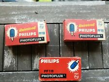 3 X Unused Phillips PF1B Photoflux Flash Bulbs. boxed