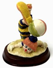 Clown Figurine With Ball On Head, W/ Wood Base *Rare* 5 Inches Tall