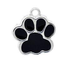 10 Silberfarbe Emaille Hundpfote Perlen Beads 19x17mm