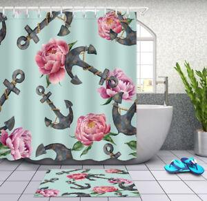 Watercolor Sea Anchors & Peony Flowers Shower Curtain Bathroom Mat Waterproof