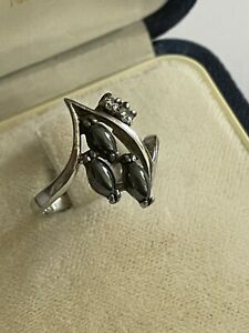 Vintage 925 Silver & Simulated Black Pearl & Cz Dress Ring Size M 1/2 2.4 Gram