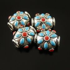 14pcs 17*14*10mm Vintage Silver Alloy Round Beads Enamel Flower Necklace Finding