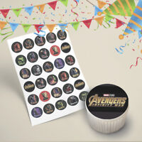 30x Marvel Avengers Infinity War Cupcake Toppers Edible Icing Image Pre-Cut 35mm