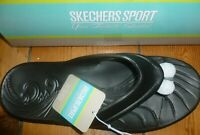 "SKECHERS SANDALS FLIP FLOPS ""BEACHING IT"" TOE POST UK6 EU39 BLACK NEW BOXED"