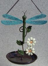 "Bird Feeder Dragonfly NEW hanging metal and melamine resin 7 3/4"" diameter"