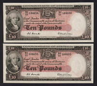Australia R-62. (1954) 10 Pounds - Coombs/Wilson.. UNC - CONSECUTIVE Pair