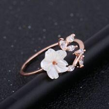 Rose Gold White Zircon Open Ring Cherry Blossom Sakura Flowers Leaves Shell