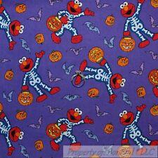 BonEful Fabric FQ Cotton Quilt VTG Halloween Purple ELMO Skeleton Bats Pumpkin