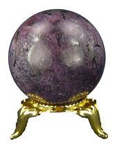 BUTW Natural Healing Ruby Lapidary Crystal Sphere 36mm Diameter with Stand 4360K