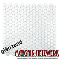 Mosaik Knopf Penny Rundmosaik uni weiß glänzend Fliese Wand Art:10-0102 10Matten