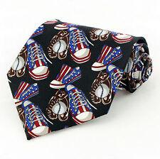 All American Shoes Mens Necktie US Flag Sneaker Baseball Glove Black Tie New