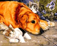 DOG WITH KITTENS PAINTING PAINT BY NUMBERS CANVAS KIT 20 x 16 ins FRAMELESS