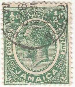 JAMAICA 1921-1927 KGV 1/2D Green SG 92   Used
