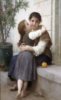 Oil painting William-Adolphe Bouguereau - A Little Coaxing Young Girls - Sister