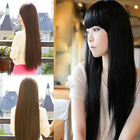 New Fashion Sexy Long Straight Neat bang Women's Lady's Hair Wig Wigs Cosplay