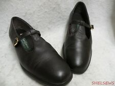 Soft Spots Black Leather T-Strap Low Wedge Heel 10.5M VGC