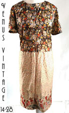 "UK 26 XL Vintage 70s Dress Gold Brown Floral Silky Babydoll Sissy Bust 52"" 133cm"