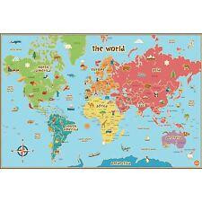 World Kids Map Laminated Dry Erase Includes Pen Kids Bedroom Playroom