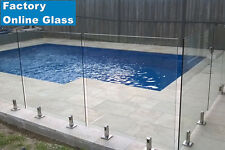 1800 x 1170 x 12mm Frameless Glass Pool Fencing Clear Toughened Spigots Fence