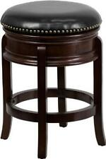 24 Backless Cappuccino Wood Counter Height Stool w/Black Leather Swivel Seat New
