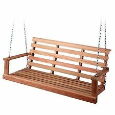 Wood Porch Swing Patio Furniture Outdoor Hanging Bench Seat Chair Sailing Hoop