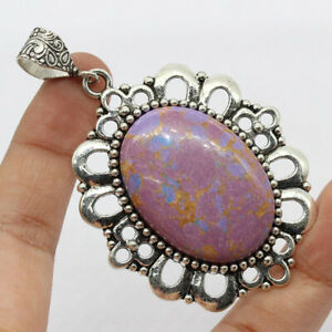 """Purple Copper Turquoise 925 Silver Plated Handmade Gemstone Pendant of 3""""  Gift"""
