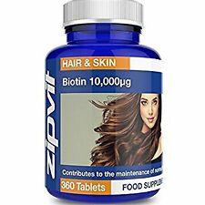 Biotine 10000mcg | 360 comprimés | Haute Concentration | Pour des Cheveux Sains