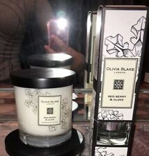 NWT Olivia Blake Red Berry & Clove Scented Candles Reed Diffuser 2pc Gift Set