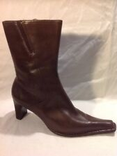 Ecco Brown Mid Calf Leather Boots Size 38