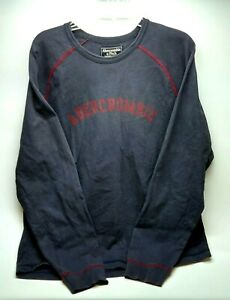 Abercrombie Fitch Mens Pullover Sweatshirt Size XL Navy Blue Long Sleeve Cotton