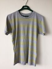 AMERICAN APPAREL GREY AND YELLOW STRIPED TEE SIZE SMALL USED