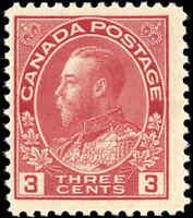 Mint NH 1923 Canada F 3c Scott #109 King George V Admiral Stamp