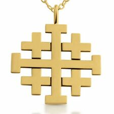 Jerusalem Crusaders Cross Pendant #14K Gold Plated Sterling Silver Azaggi P0188G