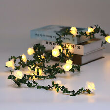 LED Artificial Rose Flower Fairy String Lights Home Party Wedding Decor Lamp UK