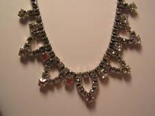 "Vintage RUNWAY Silver Tone Rhinestone Choker Necklace, 12"""
