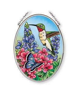Hummingbird Heaven Sun Catcher Amia New Butterfly Flowers Small Oval