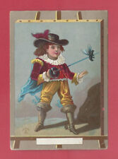 1882 Victorian Chromolithograph Trade Card Young Boy Musketeer Sword Man Paintin
