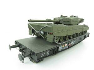 (KAW74) Märklin 5416 DC Spur 1 Schwerlastwagen Ssy-45 DB mit Panzer Leopard 2...
