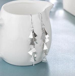 Womens 925 Sterling Silver Long Drop Christmas Tree Dangle Fashion Earrings #E71