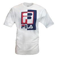 FILA Men's Rexton T-Shirt Retro Squared Logo Sporty Style Crewneck New WHITE