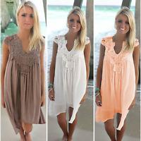Summer Women Sleeveless Lace Dress Casual Loose Holiday Beach Sundress Plus Size