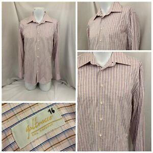 Galtrucco Dress Shirt 16 34 Pink Check 100% Cotton YGI W1-23