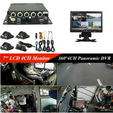 360° 720P 4CH Car Mobile DVR Security &4 Night Vision HD Cameras&7'' LCD Monitor