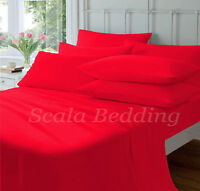 New Bed Collection Red Solid Queen Size 1000-TC 100% Egyptian Cotton Sheet Set