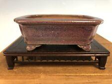 "Purple Glazed Shohin Size Bonsai Tree Pot By Heian Kosen 4 3/4"""